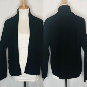 Eileen Fisher Boiled Wool Open Black Collar Jacket